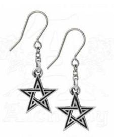 Alchemy Gothic Zwarte Pentagram oorbellen - Black Star