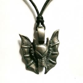 Pewter hanger drakenhoofd met vleugels
