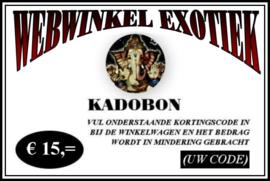 Kadobon € 15,=