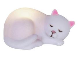 Slapende kat nachtlampje met ledlicht - 5 x 11 x 7 cm