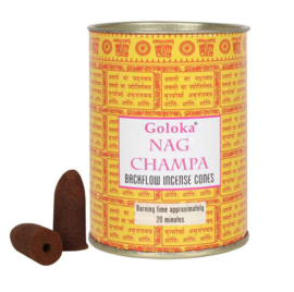 Goloka Nag Champa Backflow Wierookkegels - blik 9.5 cm hoog
