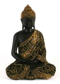 Thaise Boeddha zwart goud 30 cm hoog