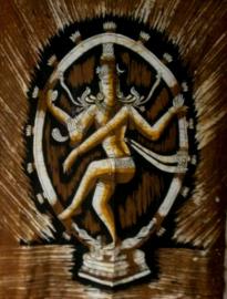 Shiva batik bruin wit 80 x 110 cm