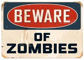 Blikken metalen wandbord Beware of Zombies - 20 x 30 cm