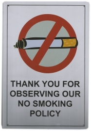 Blikken metalen wandbord No Smoking 20 x 30 cm