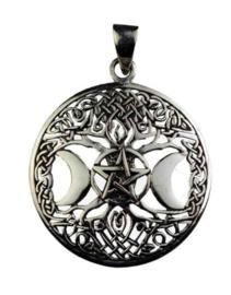 925 Sterling Zilveren Kettinghanger Levensboom Drievoudige Maan met Pentagram Gothic Wicca Keltisch - 3 cm hoog