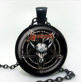 Glazen hanger met ketting Pentagram Baphomet Satanische geitenschedel demon demoon