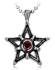 Pentagram / pentacel met rood steen ketting 316 titanium staal - 2.3 x 4 cm