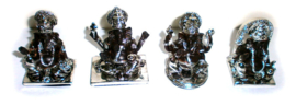 Zittende Ganesha Beelden Zilver Bruin - zet van 4 - 5.5 X 4 X 6 cm