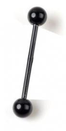 Tongpiercing zwarte staal 2,8 cm lang