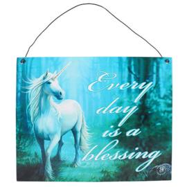 Metalen wandbord Anne Stokes - Unicorn Blessing - 19 x 24 cm