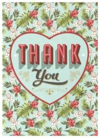 Wenskaart hart en bloemen Thank You