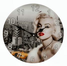 Glazen wandklok Marilyn Monroe 30 cm Ø