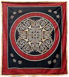 Bedsprei Keltisch knoop rood oranje 220 x 210 cm