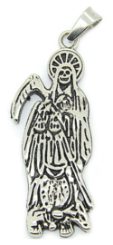 Magere hein Grim Reaper Santa Muerte ketting 316 titanium staal - 5.8 x 2.1 cm
