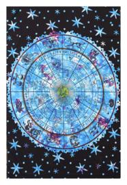 Bedsprei wandkleed tafelkleed vloerkleed Astrologie Zodiac blauw 148 x 200 cm