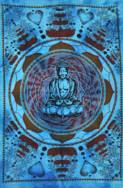 Muurkleed Wandkleed Boeddha in Lotus turquoise  - 80 x 110 cm