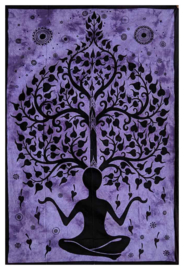 Bedsprei wandkleed eenpersoons Chakra Yogaman Levensboom Paars - 140 X 210 cm