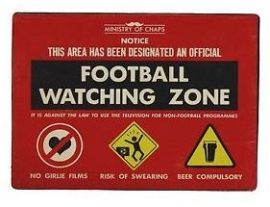 Blikken metalen wandbord Football Watching Zone 15 x 20 cm