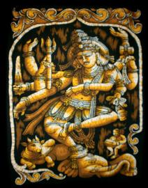 Indiase wandkleed muurkleed katoen dansend Shiva en Nandi mostard - c.a.  80 x 110 cm