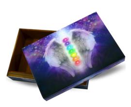 Sieradendoos Tarotdoos gelamineerd hout - Chakra met engelenvleugels - 15 x 10 x 5.3 cm