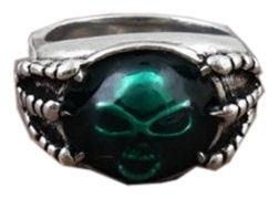 Punk Gothic ring groene doodskop
