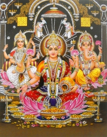 Hindu poster Lakshmi Ganesha Saraswati 2 - 23 x 29 cm