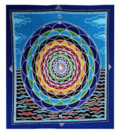 Batik wandkleed Mandala in de Wolken 107 x 84 cm