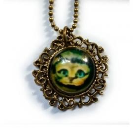 Glazen hanger Cheshire Cat met bronzen setting