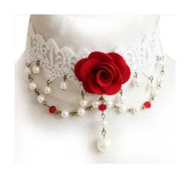 Witte Gothic lolita kanten choker met rode roos 4