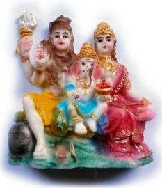 Minibeeld Shiva, Parvati, Ganesha - 4 x 4 x 2 cm