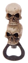 Flesopener dubbele schedel doodskop - 9,5 cm hoog
