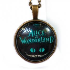 Glazen hanger met ketting Alice in Wonderland Cheshire Cat 3