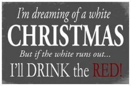 White Christmas - houten wandbord - 25 x 15 cm