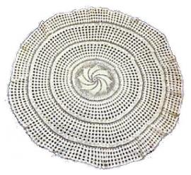 Ronde katoenen gehaakte witte tafelkleed - 90 cm doorsnee