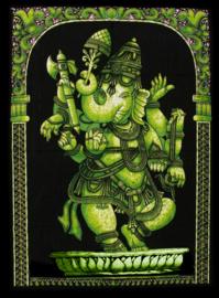 Indiase muurkleed wandkleed Ganesha groen dessin 2 - c.a.  80 x 110 cm