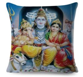 Kussenhoes Hindu God - Shiva Parvati Ganesha Nandi - 45 x 45 cm