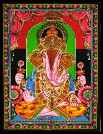 Wandkleed Hindu God Ganesha zittend - c.a. 80 x 110 cm