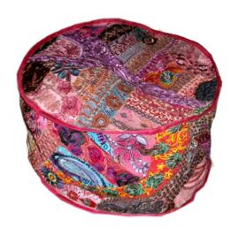 Indiase pouf katoen lapjesdessin donker roze - 60 x 37 cm
