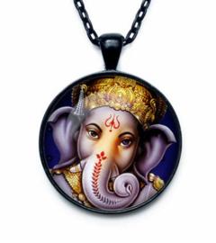 Glazen hanger met ketting Ganesha dessin 3