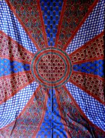 Bedsprei / wandkleed Zon en Bloemen rood blauw 200 x 220 cm