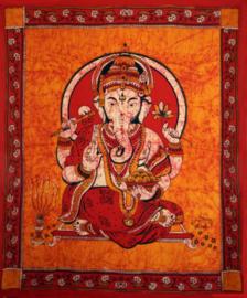 Bedsprei wandkleed batik Ganesha rood oranje - 200 x 250 cm