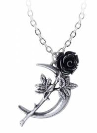 Alchemy Gothic nekketing - New Romance - Zwarte Roos op een Tanende Maan - 4.4 cm lang