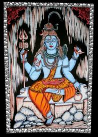 Indiase wandkleed muurkleed katoen zittend Shiva gekleurd - c.a.  80 x 110 cm