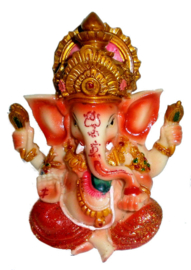 Ganesha Oranje met Glitter - 12 cm hoog