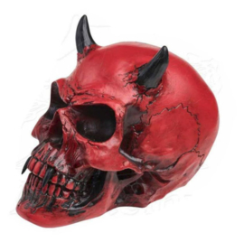 Alchemy of England the Vault - Crimson Demon - rode duivels doodskop met horens - 15 cm hoog