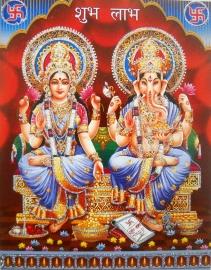 Hindu poster Lakshmi & Ganesha 1 - 23 x 29 cm