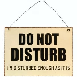 Blikken metalen wandbord  Do not disturb 15 x 21 cm