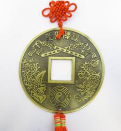 Chinees Geluksmunt - 13 cm doorsnee - voorspoed, rijkdom en balans