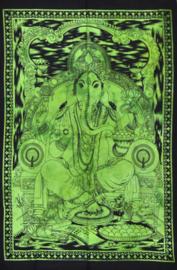 Wandkleed Hindu God Ganesha groen  - 80 x 110 cm